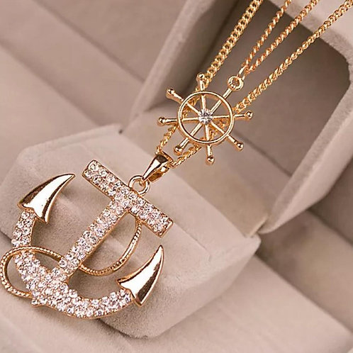 Fashion Rhinestone Anchor Necklace
