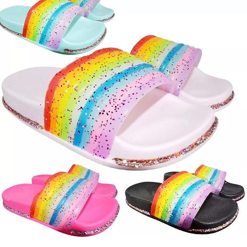 Girls rainbow 🌈 glitter sliders