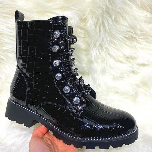 Chunky crystal detailed ankle boots fur lined