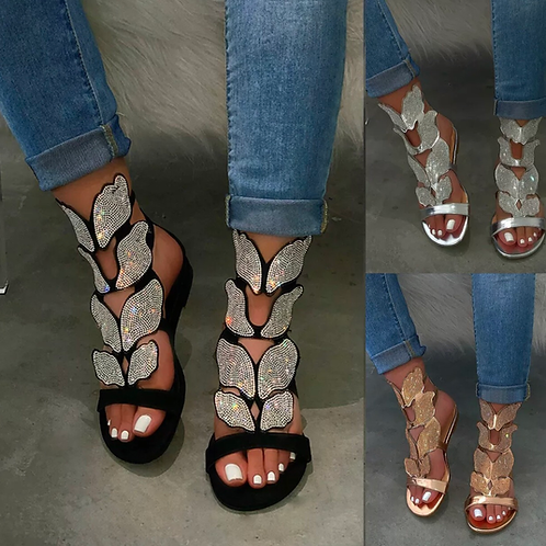 Butterfly crystal gladiator sandals