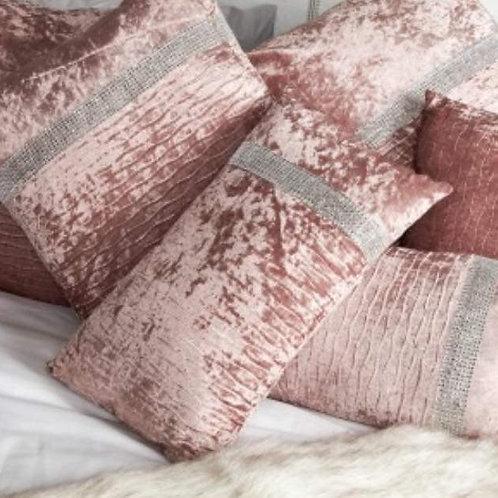 Blush Pink crushed velvet crystal cushion