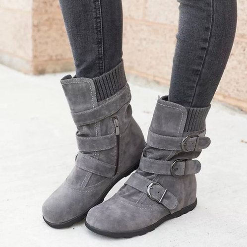 Mid calf buckle boots faux fur lined 💖