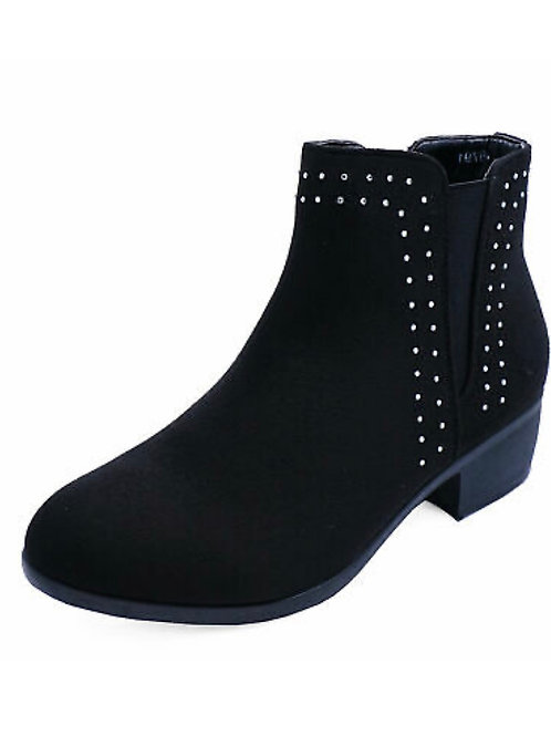 Ladies black block heel studded ankle boots