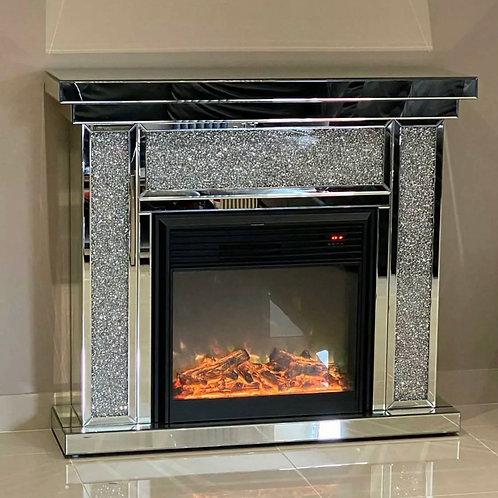 Manhattan Diamond Mirrored Fireplace Crushed Diamond Fireplace