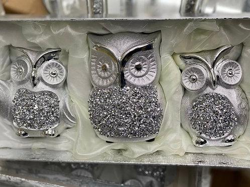 Set of 3 crushed Diamond owl 🦉 ornaments