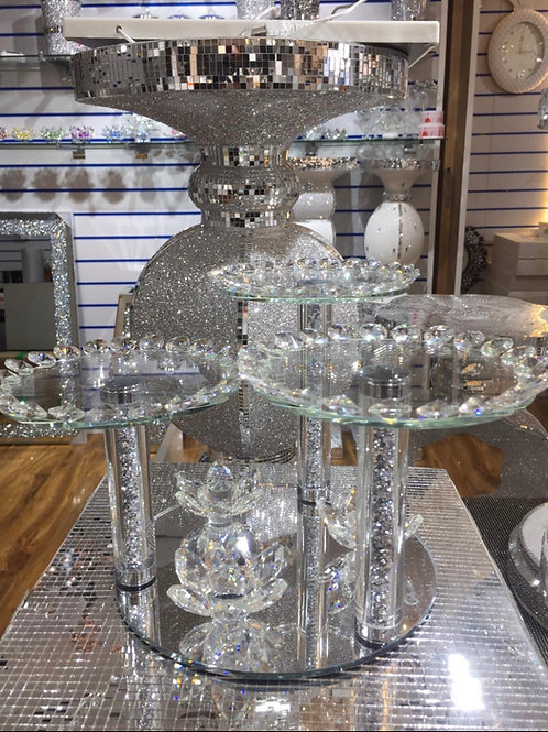 Crystal stand for tea, coffee & sugar canisters