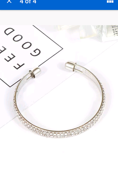 Sparkly Fashion Rhinestone Bangle Silver