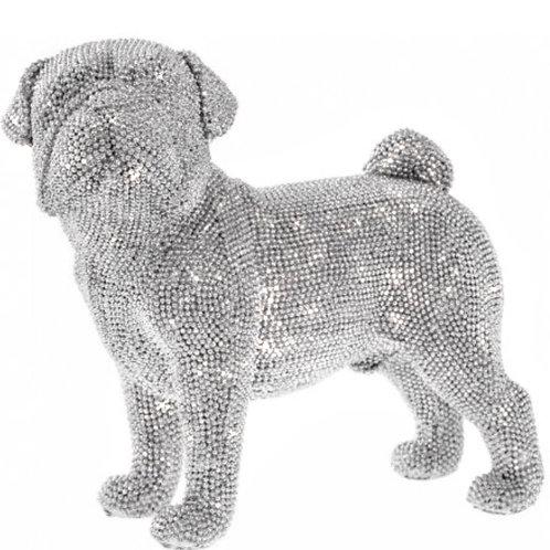 Crystal embellished standing Pug 21cm