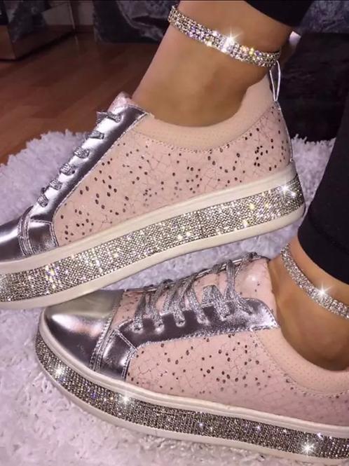 Pink crystal sneakers