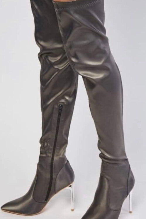 Thigh high Sateen stiletto boots