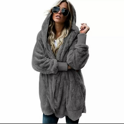 Faux fur Teddy bear hooded fleece
