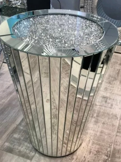 Crushed Diamond cone panel mirrored table