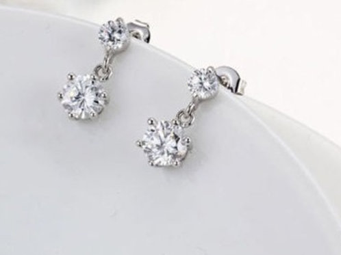 Sterling Silver Earrings Crystal Rhinestone Drops