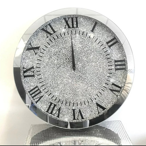 Large crushed Diamond clock 45 x 45cm