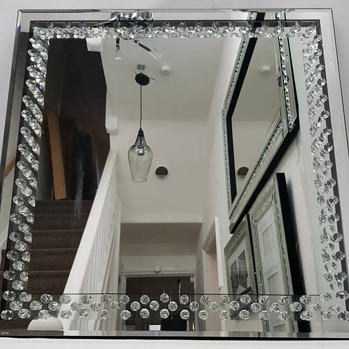 Square Mirror Enclosed Sparkly Floating Crystal Effect Wall Hung 60X60cm