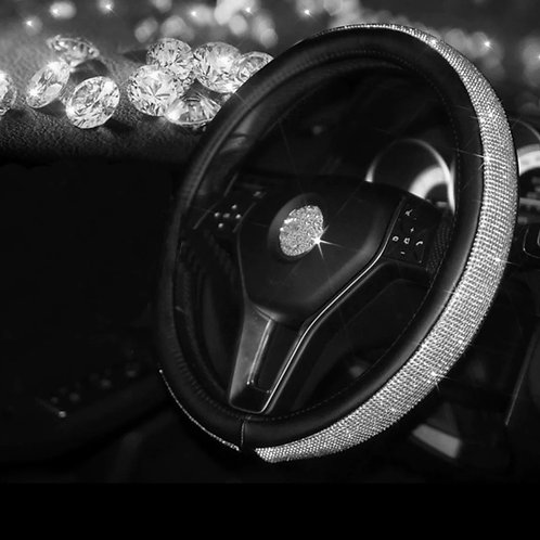 Crystal Rhinestone Black Steering Wheel Cover