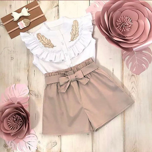 Beige shorts & vest summer set 💖