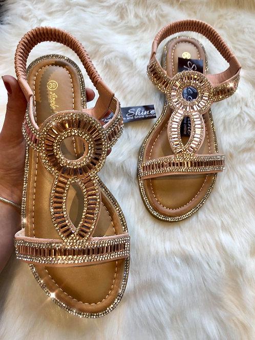 Rose Pink Crystal Sandals