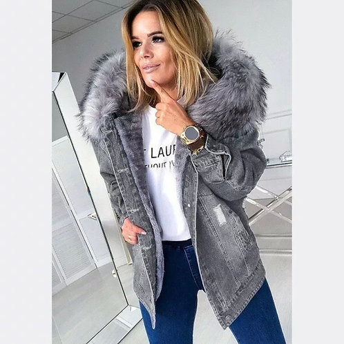 Over sized Denim Jacket with Faux fur collar