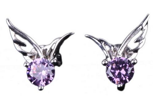 Angel Wing Earrings Women 925 Sterling Silver Crystal Butterfly Studs Ear Stud