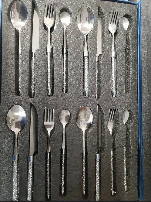 Crushed diamond cutlery set 16 pcs