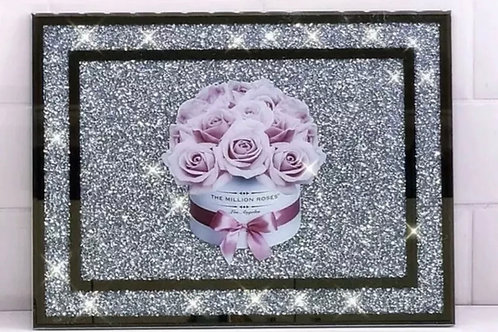Crushed Diamond filled chopping board roses 🌹
