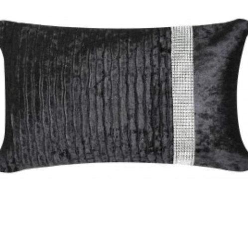 Black crystal crushed velvet cushion