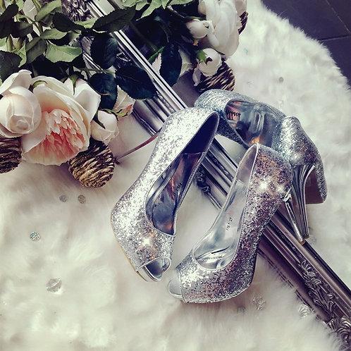 Glitter Jenna Peep Toe Stilettos