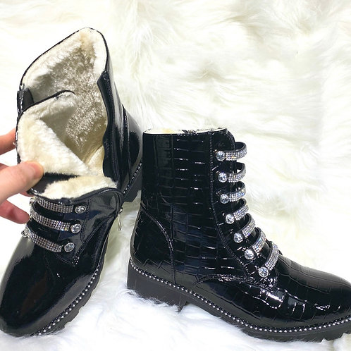 Crystal croc fur lined boots