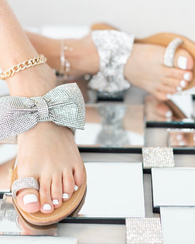 Toe ring Crystal bow sandals