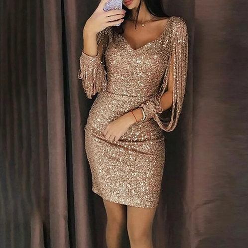 Tassel long sleeved v neck sequin Dress