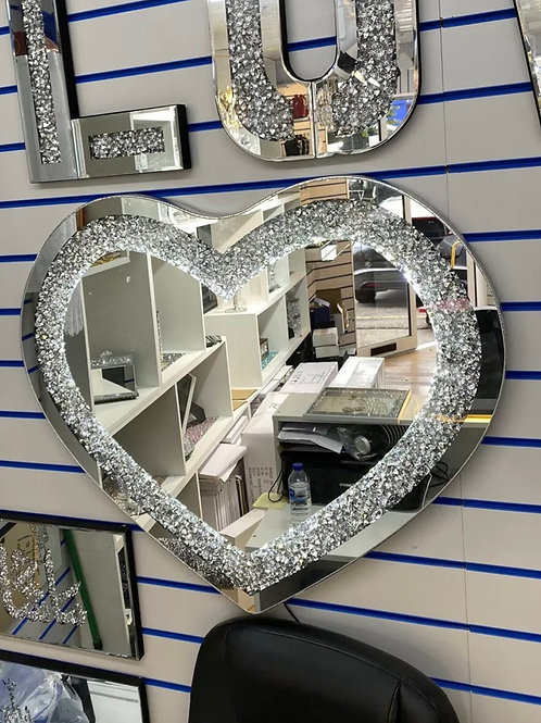 Crushed diamond led light up heart mirror 70x70