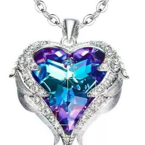 Amethyst Angel Wings Zirconia Crystals Handmade Heart Pendant Necklace