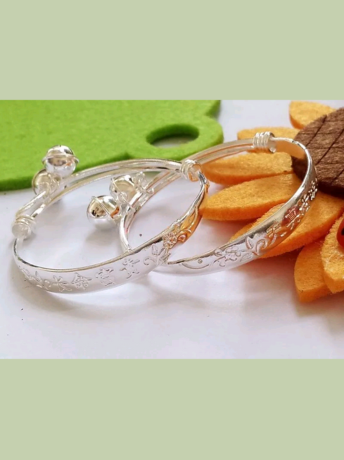 Sterling Silver Baby Bangle Bell Design