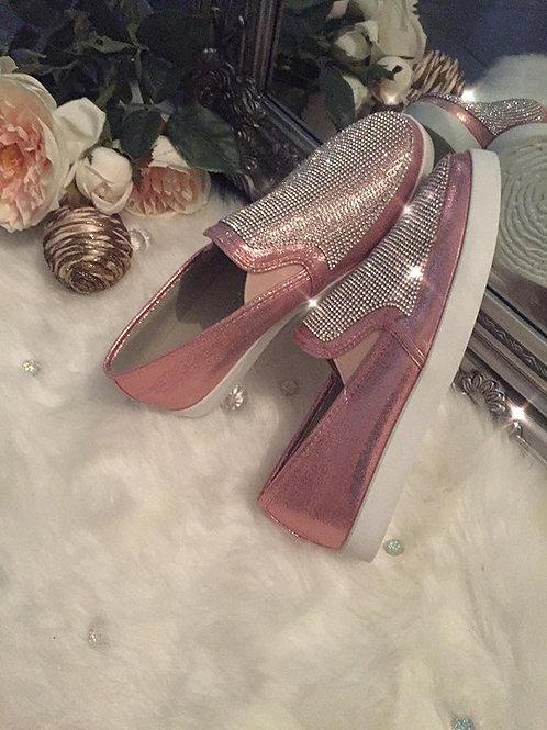 Crystal Embellished Shimmer Pumps