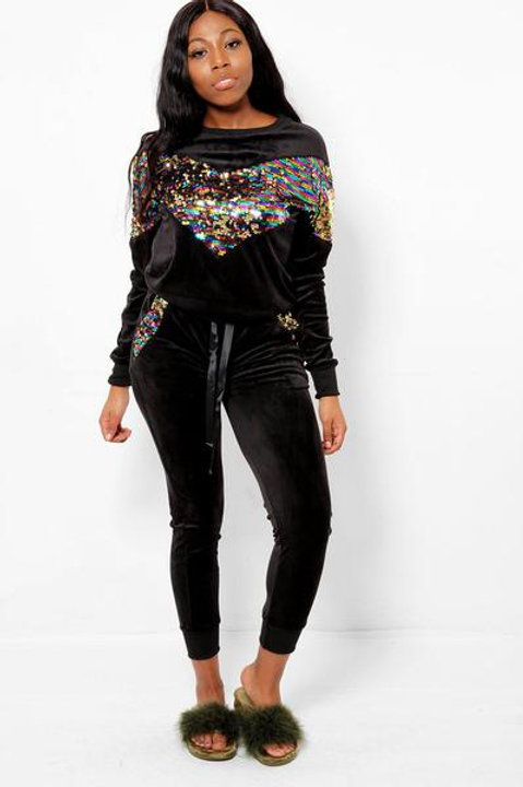 Rainbow Sequins Black Velour 2 Piece Tracksuit Set