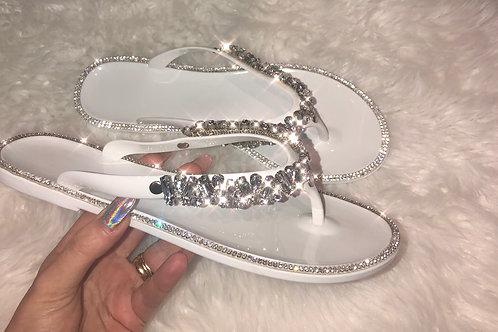 White crystal embellished flip flops
