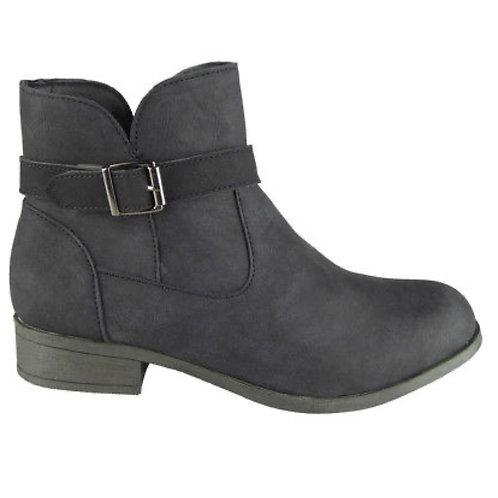 Ladies Black smart buckle ankle boots