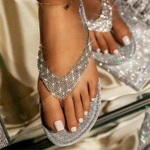 Ladies silver crystal flip flops
