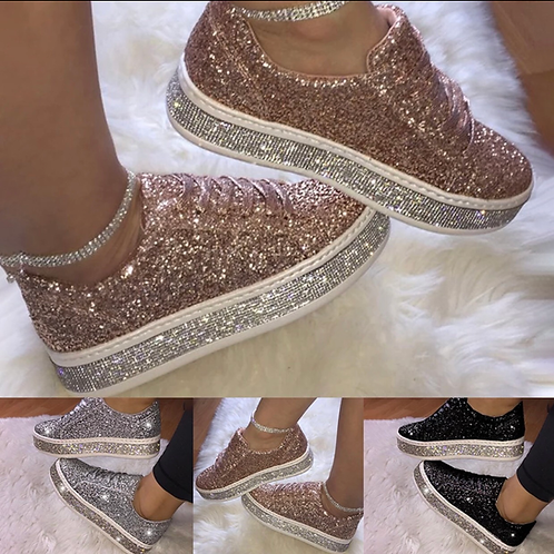 Rose Gold Crystal embellished sneakers