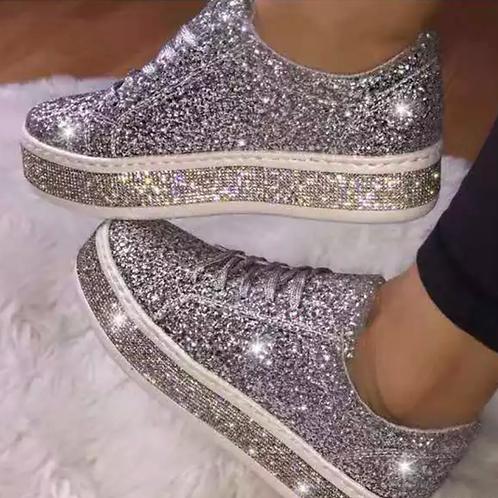 Silver crystal sneakers