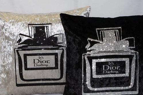 Black Dior glitter feature cushion