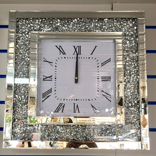 30 x 30cm Crushed Diamond & mirror wall clock