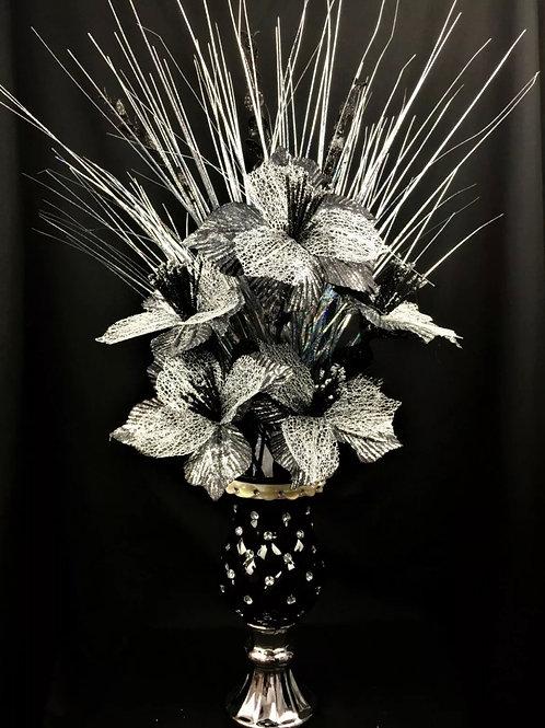Black & Silver Ceramic Finish Vase ,Black & Silver Flower 30cm, Home Decor, Gift