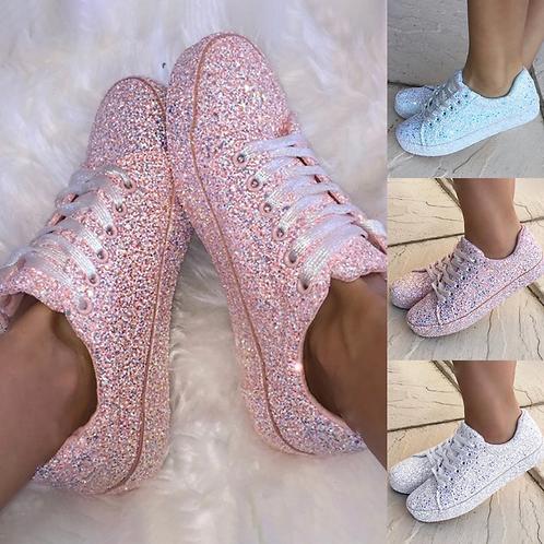 Full glitter pink trainers