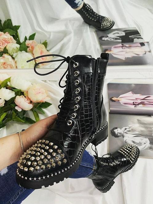 Black croc stuffed lace up boots