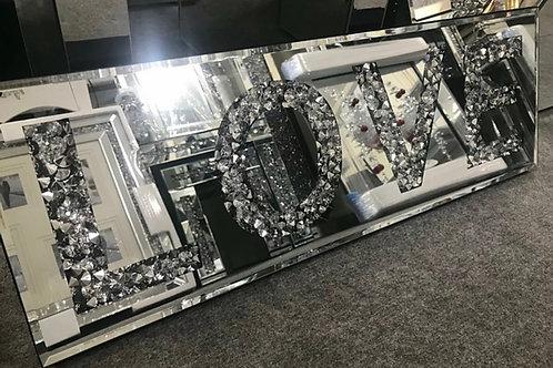 Crushed diamond LOVE mirror 60 x 20 cm