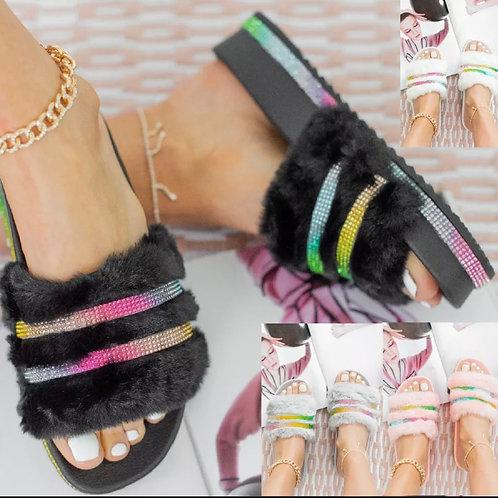 Black fluffy crystal sliders