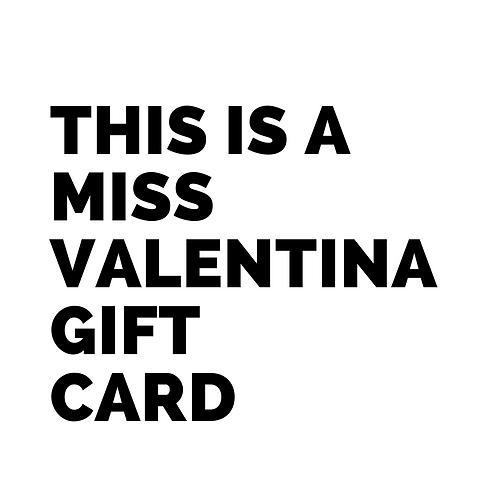 Tarjeta Regalo Miss Valentina