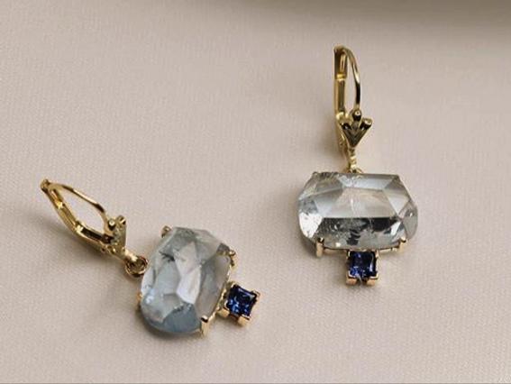sapphire & gold earrings